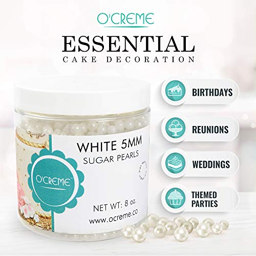 O'Creme White Edible Sugar Pearls Cake Decorating Supplies for Bakers:  Cookie, Cupcake & Icing Toppings, Beads Sprinkles For Baking, Kosher  Certified,