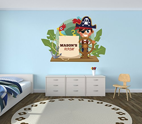 - Pirate Adventure Custom Name - Nursery Wall Decal For Baby Room Decorations - Mural Wall Decal Sticker For Home Children's Bedroom (MM81) (Wide 22