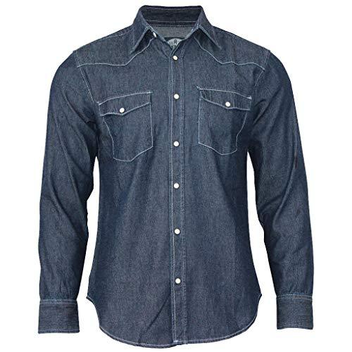 Denim Cotton Double-Pocket Shirt Men Long Sleeve Blue Work Slim Fit Blouse