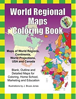 World Regional Maps Coloring Book Maps Of World Regions Continents World Projections