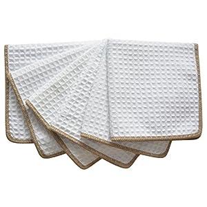 Sinland Thick Microfiber Waffle Weave Dish Cloths Dishcloths Washcloths Facial Cloths 6 pack White W/edge Brown