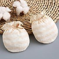 Kalevel 3 Pairs Baby Gloves Newborn Cotton Mittens No Scratch Baby Mittens 0-12 Months Brown Stripe
