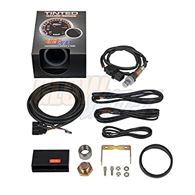 """GlowShift Tinted Series Wideband Air/Fuel Ratio AFR Gauge Kit - Includes Oxygen Sensor & Weld-in Bung - Blue Digital LED Display - Smoked Lens - 2-1/16"""" 52mm: Automotive"""