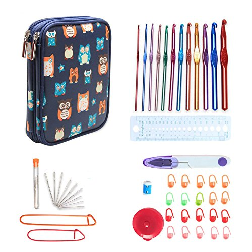 Teamoy Aluminum Crochet Hooks Set, Knitting Needle Kit, Organizer Carrying Case with 12pcs 2mm to 8mm Hooks and Complete Accessories, All in One Place and Easy to Carry, Owls by Teamoy