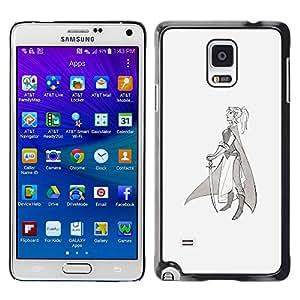 Shell-Star Arte & diseño plástico duro Fundas Cover Cubre Hard Case Cover para Samsung Galaxy Note 4 IV / SM-N910F / SM-N910K / SM-N910C / SM-N910W8 / SM-N910U / SM-N910G ( Warrior Princess Sword Profile Art Drawing )