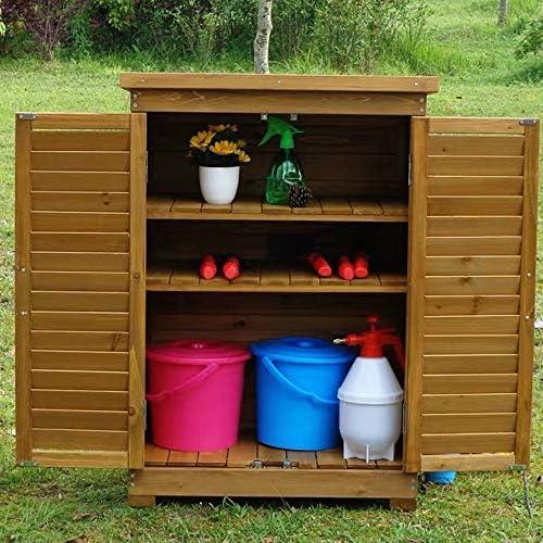 屋外収納 ロッカー 屋外の木製の防水ロッカーツールキャビネットツールボックスバルコニーパティオストレージキャビネットガーデン デッキボックス (色 : Khaki, Size : XL)