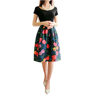 303a50c9c Image Unavailable. Image not available for. Color: Elegant Women Pleated Vintage  Skirts Floral Print Midi ...