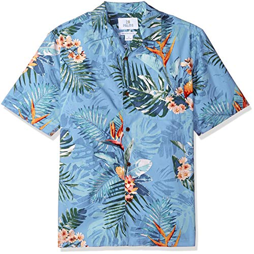 28 Palms Men's Relaxed-Fit 100% Cotton Tropical Hawaiian Shirt, Blue Bird of Paradise, Small