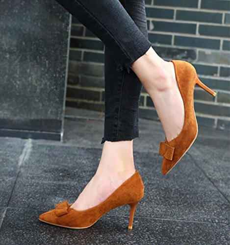 Zapatos En La Solo Pajarita Mujer De 39 Punta Nueva Zapatos Versátil 7 De Satén Tacón Y El 5Cm Con Un De Luz De Color KHSKX Caramelo Dulce Otoño Delgada wZPpwzq7