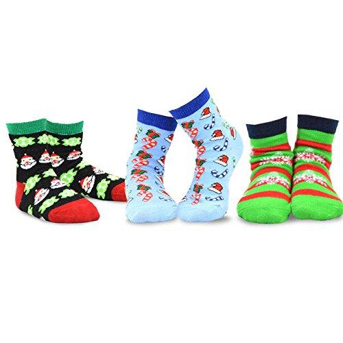 TeeHee Christmas Kids Cotton Fun Crew Socks 3-Pair Pack (6-8 Years, Santa Clause Allover Xmas Things)
