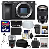 Sony Alpha A6500 4K Wi-Fi Digital Camera Body with 18-200mm Lens + 64GB Card + Case + Flash + Battery & Charger + Tripod + Filters + Kit