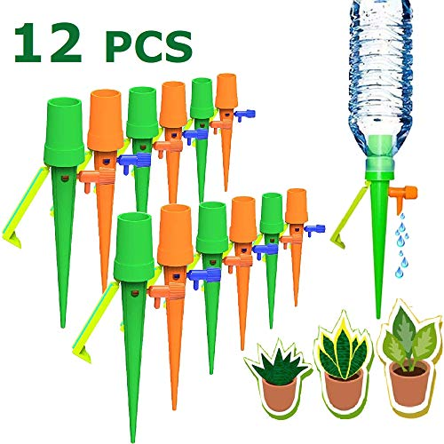 Bluecho 12 Pcs Plant Waterer Self Watering Spikes Devices with Slow Release Control Valve Switch for Outdoor Indoor Garden [New]