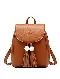 Micom Small Tassels Pu Leather Crossbody Purse Backpack Bags for Women,girls