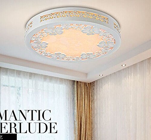 White LED circular engraving wooden ceiling lamp warm romantic bedrooms light wild flower petals ,458cm Lamp 24W Wildflower Chandelier