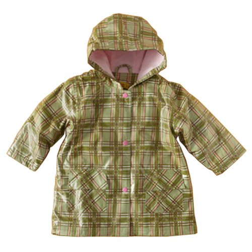 Pluie Pluie Little Girls Green Plaid Lined Raincoat Outerwear 6-6X (Plaid Lined Raincoat)
