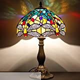 tiffanyhouse 12812T 12inch wide 18inch high - yellow and blue dragonfly tiffany style table Lamp - antique art lamp as Best Christmas Gift for Teens Girl and Kids Children in Dorms Bedroom Decoratio