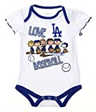 Los Angeles Dodgers Baby Girls Infants Peanuts Love Baseball Creeper, White