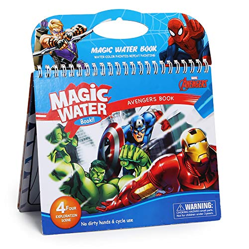 MARSCOOL Water Reveal Books for Kids,Waterpainting Books, Water Books for Kids, Water Doodle Books with Refillable Pen, Both for Home Use and Travel(Super Hero)]()