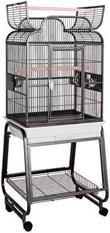 HQ s Opening Scroll Cage, Small Parrot Cage With Cart Stand, 1 Per Box, 22x17x55 H, Black..