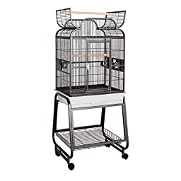 HQ\'s Opening Scroll Cage, Small Parrot Cage With Cart Stand, 1 Per Box, 22x17x55\