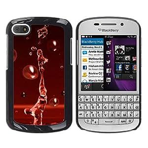 Paccase / SLIM PC / Aliminium Casa Carcasa Funda Case Cover - Red Water Drop Red Splash - BlackBerry Q10
