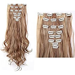 "LAY 24-26 Inches 18Clips Full Head Set Clip in Hair Extensions Highlight Cosplay Party Wedding Hairpiece (24""-Curly, Light Brown & Ash Blonde)"