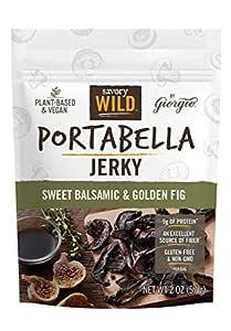 Savory Wild Vegan Portabella Mushroom Jerky   Gluten Free & Non-GMO   Sweet Balsamic & Golden Fig