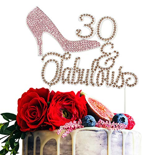 - High Heel 30 & Fabulous Pink and Gold Rhinestone Birthday Cake Topper Thirty Birthday Cake Topper Premium Sparkly Crystal Rhinestone Bday Party Decorations