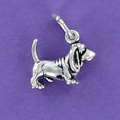 Basset Hound Dog Charm Sterling Silver for Bracelet Short Legs Long Ears Tiny Jewelry Making Supply, Pendant, Charms, Bracelet, DIY Crafting by Wholesale Charms