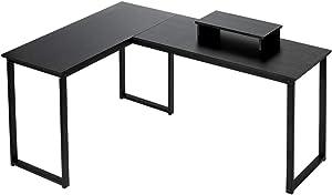 Computer Desk, HEEYUE L Shaped Desk with Large Desktop, Corner Desk with Monitor Stand PC Laptop Table Computer Workstation for Home Office (Black)