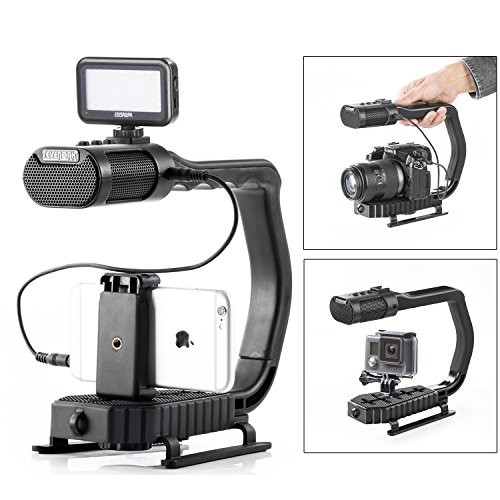 Sevenoak MicRig Handheld Stabilizer Handle Grip with Built-in Stereo Mic & SK-PL30 Video Led Lights for Skateboarding iPhone 8 8 plus 7 6 6s Smartphone GoPro Canon Nikon Sony RX0 DSLR Camera Camcorder by Sevenoak