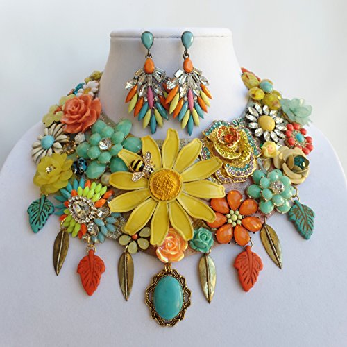 Hand Painted Floral Collar Signed Necklace Earrings Bracelet Vintage Daisy Gemstone Betsey Johnson (Vintage Bracelet Signed)