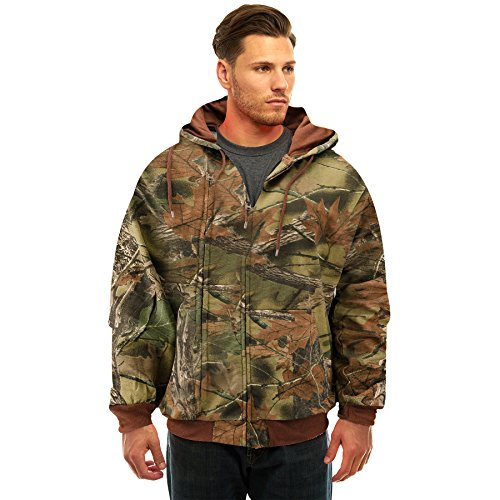 Trail Crest Men's Camo Zip Full Zip Up Hooded Sweatshirt Hunting Jacket W/ Magnet, Medium, Camo