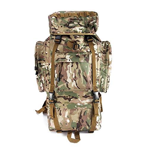YAKEDA®Bolsos del alpinismo al aire libre tácticos hombros mochila bolsas de hombres y mujeres bolsa impermeable de gran capacidad de camuflaje mochila marco interno paquete 65L - 11 (negro) CP