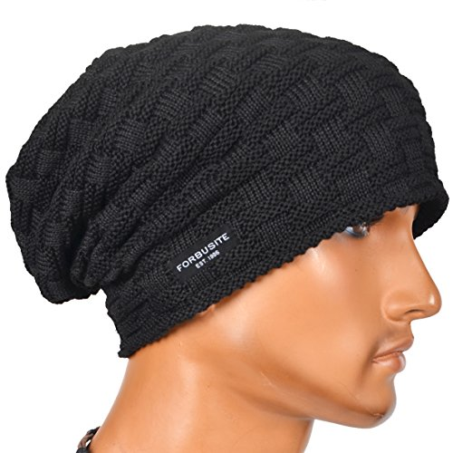 Check Fleece (VECRY Mens Beanie Hat Fleece Lined Knit Hat Thick Skull Cap (Check-Black))