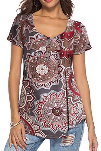 V Neck Paisley Print T Shirts for Women Casual Loose Fit Tops Brown Flowers L