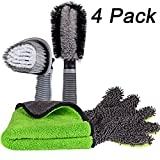 Carperipher Car Cleaning Kit - 4 Pack Car Washing Tools - with Soft Chenille Car Washing Sponges & Mitts - Wash Cloth Towel Auto Care Tools - Tire Cleaner Brush & Wheel Cleaner Brush Auto Detailing Tool