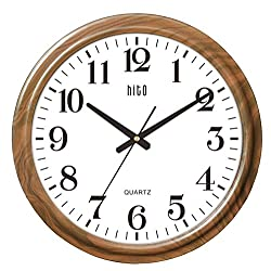 HITO Extra Large Oversized Silent Non-ticking Wall Clock- Glass Cover (19 inches, Wood)