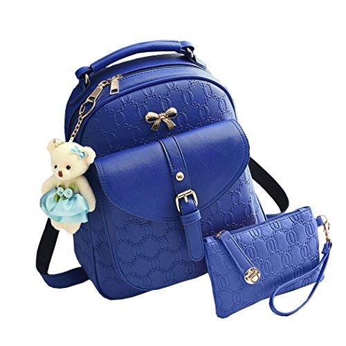 Para mujer Bolsos mochila Bolsos bandolera Carteras de mano Mochila escolar Bolsa para portátil Cuero Rosa azul