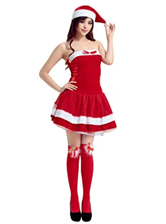 f2839c38f19c COMVIP Women's Strapless Miss Santa Costume Sexy Fancy Christmas Dress Red