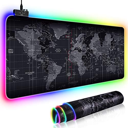 RGB Extended Gaming Mouse Pad, Extra Large Soft LED Extended Mouse pad (11 Lighting Modes), Non-Slip Rubber Base Computer Keyboard Pad Mat,31.5X11.8 in, Mouse Mat for Gamer, Office & Home, World Map (Best Looking Offices In The World)