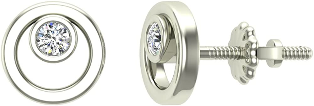 Earrings for girls-women Circle Diamond Studs Gift Box Authenticity Cards 10K Solid Gold 0.10 ct t.w.