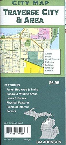 (MAP OF TRAVERSE CITY & AREA MICHIGAN /CITY SERIES /HUGE FOLDOUT+++)