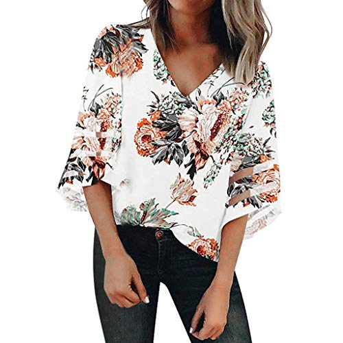 TIFENNY Women's V Neck Print Mesh Panel Blouse 3/4 Bell Sleeve Loose Top Shirt Summer Fashion Sexy Blouse White ()