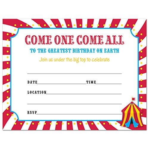 Carnival Circus Birthday Fill-in Invitations - 24 (Circus Birthday Invitations)