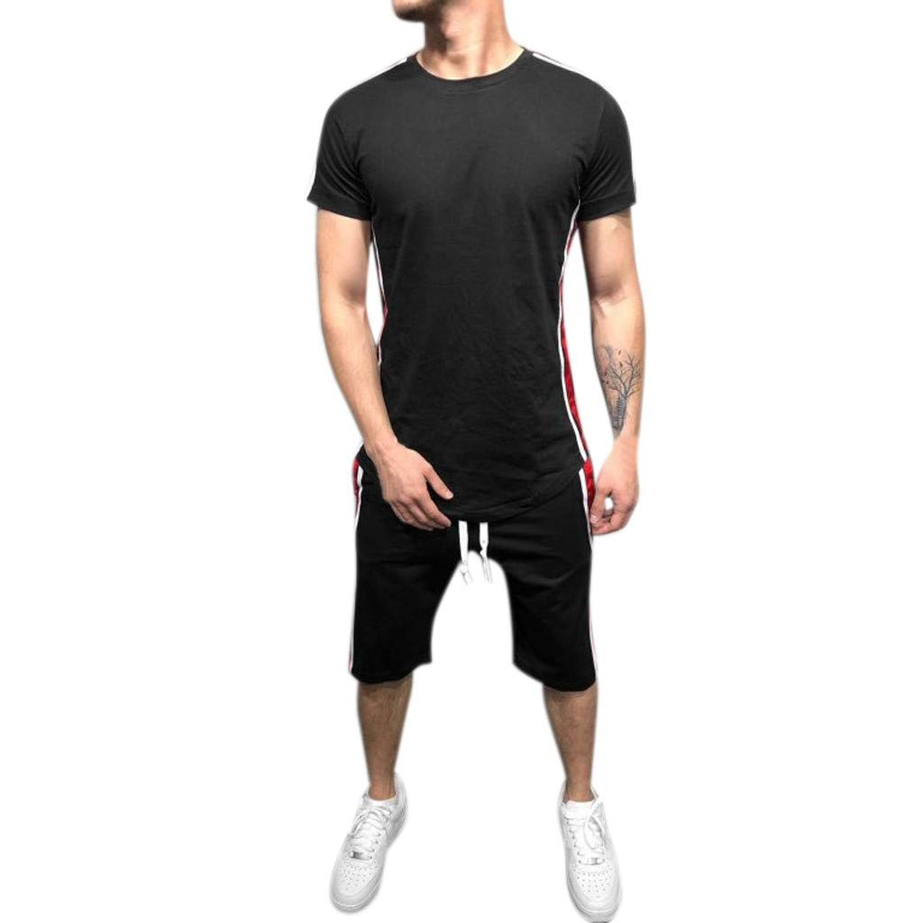 Men's 2 Piece Outfit Sport Set Two-Piece Summer Casual Short Sleeve Tops + Shorts Tracksuit Sports Wear (XL, Black)