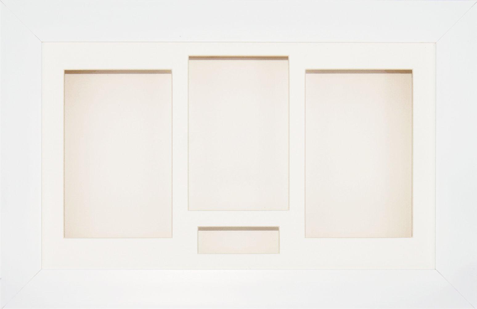 BabyRice 14.5x8.5'' White Shadow Box 3D Medal Keepsake Casts Flowers Display Frame / Cream 4 Aperture Mount / Cream backing