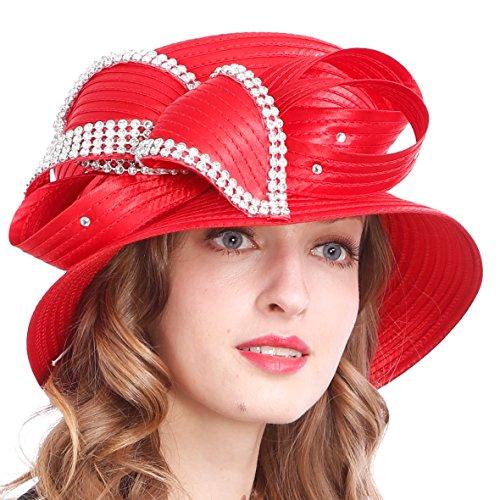 VECRY Women's Dressy Church Baptism Wedding Derby Hat (Rhinestone-Red) by VECRY