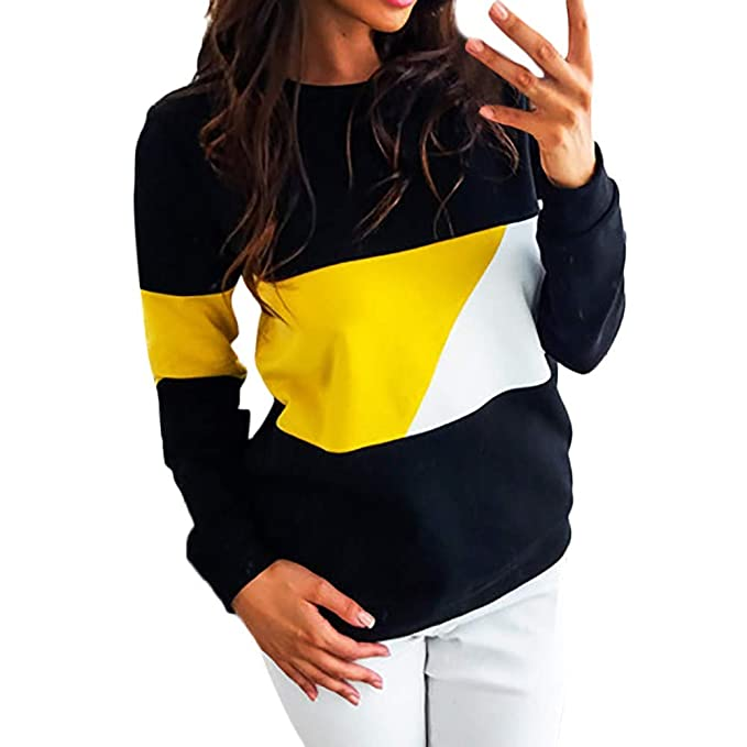 Kanhan✿ Fashion Women Casual Color Block Long Sleeve Pullovers Blouse Top at Amazon Womens Clothing store: