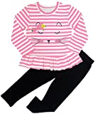 BomDeals Adorable Cute Toddler Baby Girl Clothing 2pcs Outfits (Age(4T), Strip/Pink)